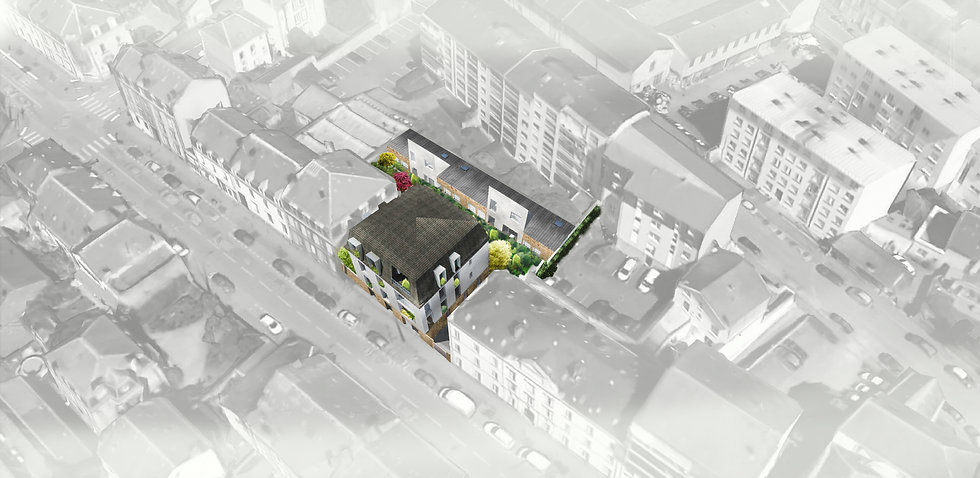 vue axonométrique plan de masse construction de logements collectifs et individuels par l'Architecte TNT Architecture à Limoges
