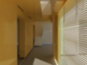 vue perspective intérieure extension maison individuelle pavillon Neuilly parois vinyl moutarde jaune double hauteur baie vitrée store TNT Architecture