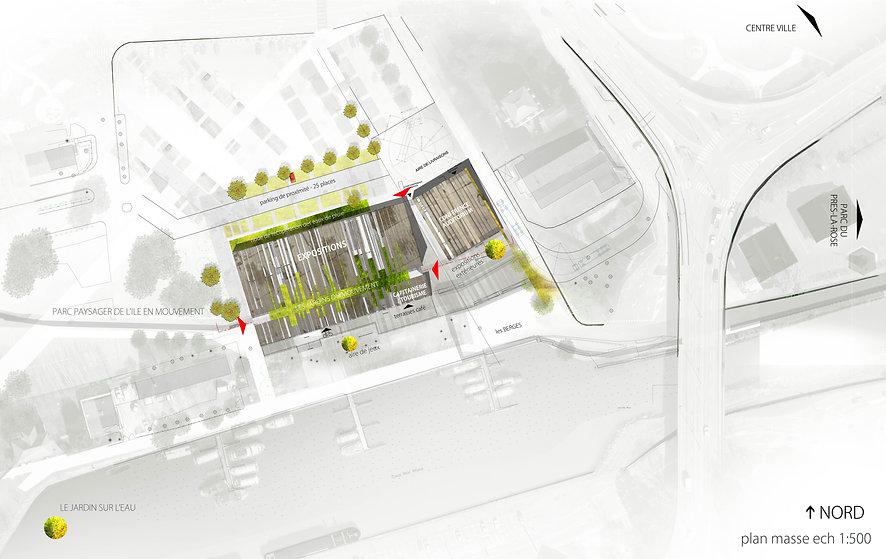plan de masse sur le parc du pré la rose à montbéliard concours pour la construction d'un équipement culturel lié au mouvement architecture contemporaine béton upcycling matériaux recyclé insertion bâtiment-paysage TNT Architecture