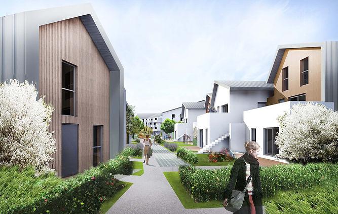 perspective sente ensemble de logements accession sociale bussy-saint-georges logements intermédaires ossature bois bardage bois zinc par l'agence TNT Architecture à Paris