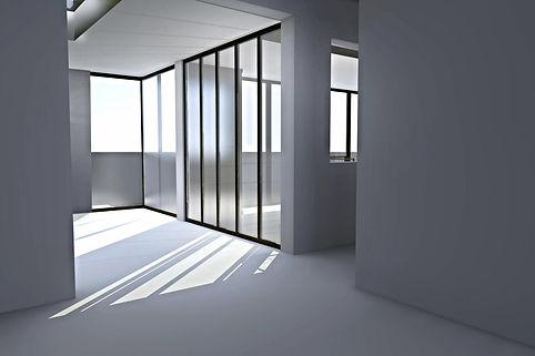 perspective sur la cuisine future avec baies vitrées verrière acier verre type loft par TNT Architecture
