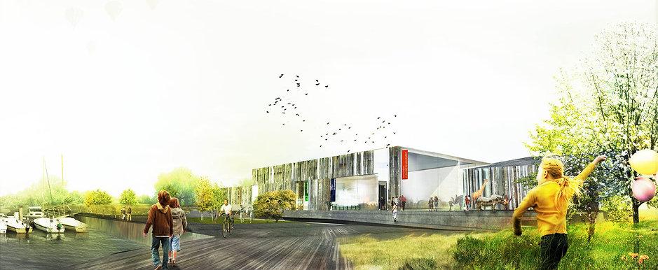 vue en perspective du bâtiment recyclé par TNT Architecture et BGA pour la construction d'un équipement musée salles expositions permanentes et temporaires conférence capitainerie office de tourisme à Monbéliard