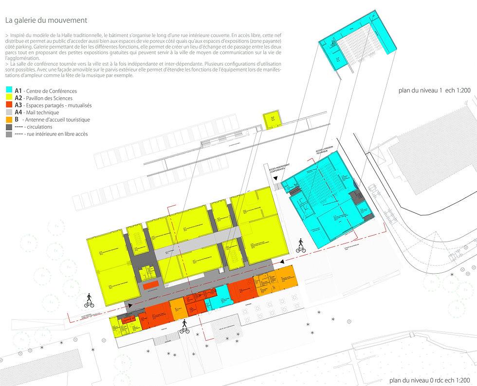 plan RDC concours équipement culturel mêlant salle de spectacles auditorium et musée à Montbéliard par les agences pariennes TNT Architecture et BGA