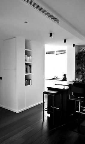 rénovation penthouse paris 15,  esapce cuisine, bar, réception