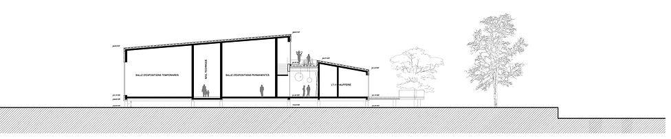coupe sur volumes montés sur pilotis : promenade toiture vegetalisee concours ERP sppectacles et culture signé TNT Architecture et BGA Paris