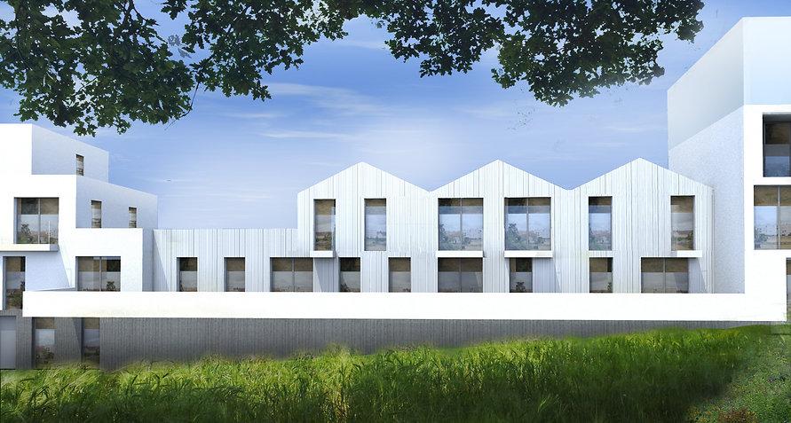 immeuble de logements collectifs et intermédiaires sociaux à limoges rue watteau béton bardage métal inox balcon appartements architecte TNT Architecture