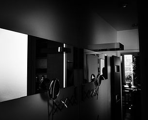 salle de bain, espace vasque, miroir, clair-obscur