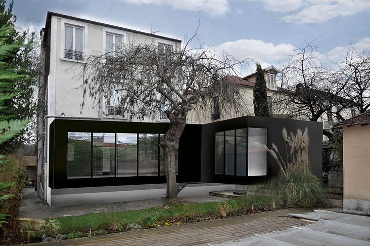 extension maison individuelle à Le Perreux-sur-Marne volumes en bardage métallique - extension noire par l'Agence officine TNT Architecture Paris