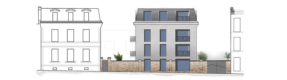 élévaion sur rue labussières à limoges construction de logements immeuble limoges par l'agence parisienne TNT Architecture