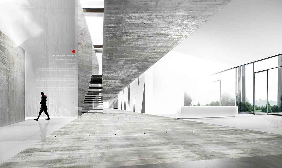 perspective intérieure du déambulatoire : accueil et entrée aux salles d'exposition béton brut corian acier : matériaux recyclés TNT Architecture paris