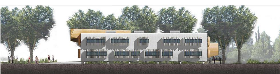 élévation façade pour le concours pour la construction de l'IUP droit de la construction et de l'urbanisme à Narbonne TNT Architecture Paris béton brut et bois brise soleil bois porte à faux