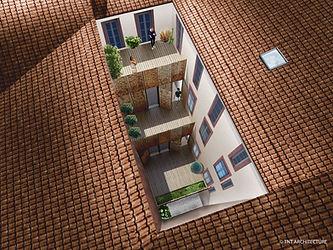 vue axonométrique aménagement extension surélévation immeuble secteur sauvegardé Montauban 82000 par Nathalie Taillefer Architecte TNT Architecture paris