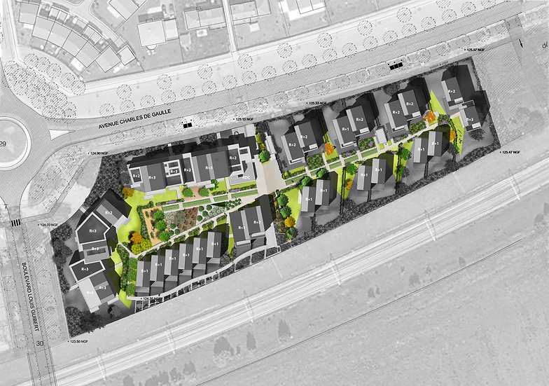 plan de masse opération de construction de logements sociaux éco-quartier du Sycomore à Bussy-St-Georges logements locatifs sociaux collectifs intermédiaires et individuels maisons et immeubles par l'agence parisienne TNT Architecture