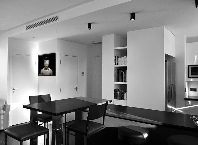 entrée, cuisine, faux plafond, niche, rénovation appartement paris 15eme