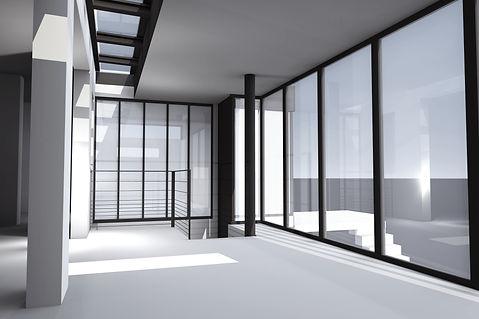 vue depuis le séjour verrière baies vitrées projet extension métallique - Le perreux sur marne 94170 paris