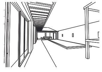 perspective filaire vue sur la cour des villas piscine bali par TNT Architecture paris