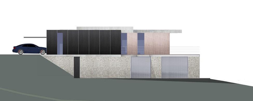 élévation façade latérale maison individuelle villa de prestige en ile-de-france par l'agence parisienne TNT Architecture pierres seches bardage bois et métal noir béton brut