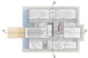 plan du R+1 concours pour la construction d'un ERP enseignement à Narbonne par l'Architecte TNT Architecture Paris boites suspendues auditorium