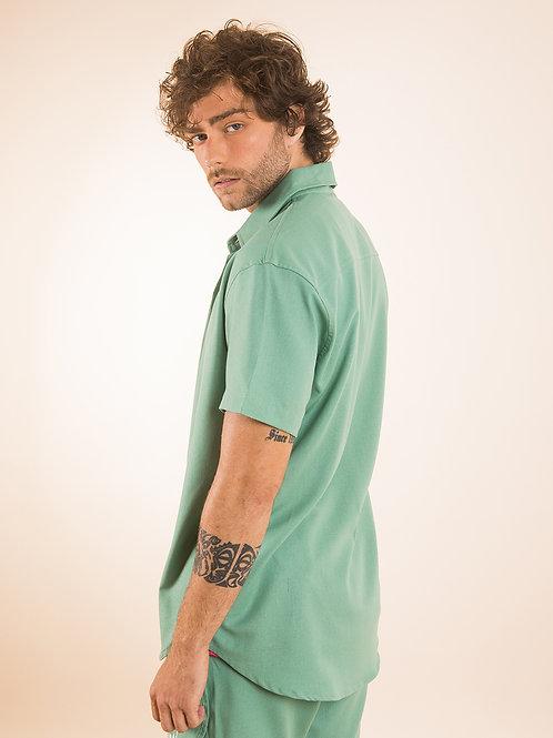 Camisa Linho Verde Monstera