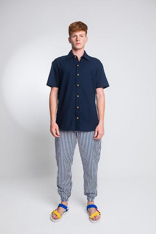 Camisa Linho Azul Marinho