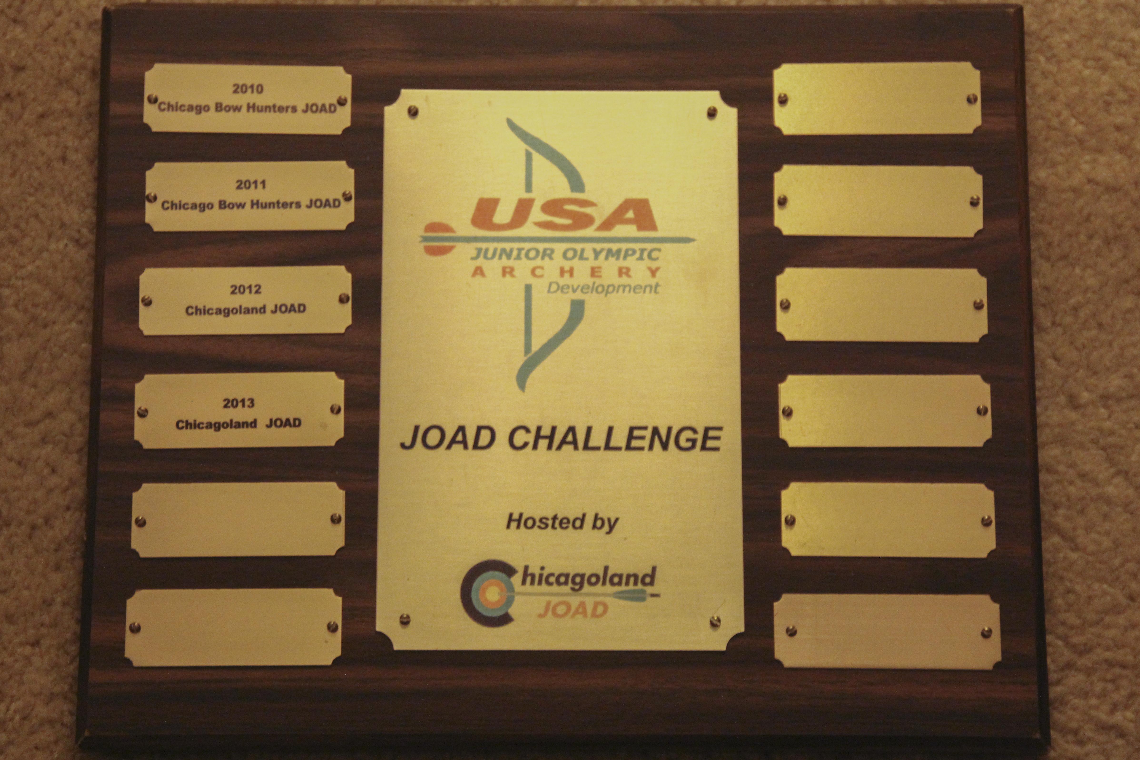 JOAD Challenge traveling plaque
