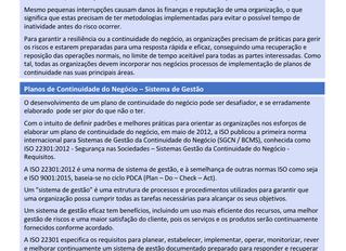 Overview ISO 22301- Continuidade do Negócio