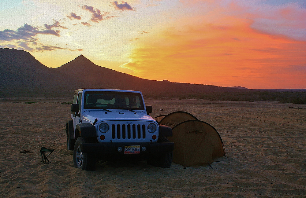 Our tent together with the Landcruiser
