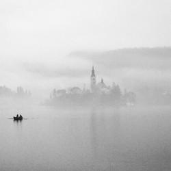 Misty lake Bled, Slovenia