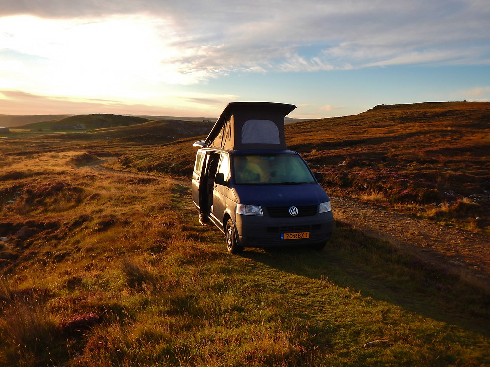 Our 'own' campervan posing in the beautiful sunset near Thurso