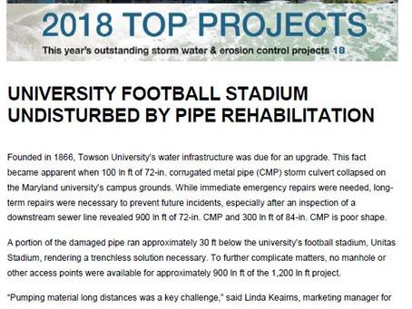 UNIVERSITY FOOTBALL STADIUM UNDISTURBED BY PIPE REHABILITATION