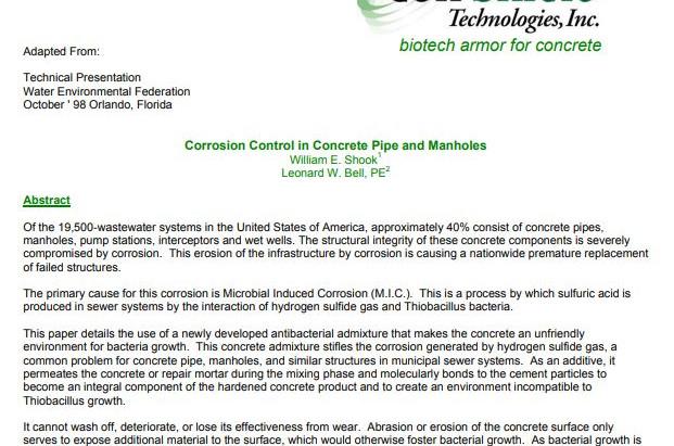 Corrosion Control in Concrete Pipe and Manholes