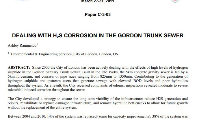 DEALING WITH H2S CORROSION IN THE GORDON TRUNK SEWER