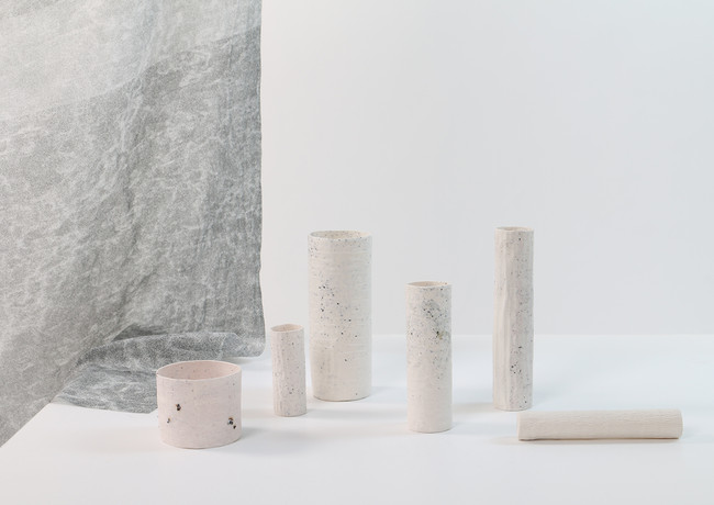 View from No where, porcelain, silk and metal granules, 2019.