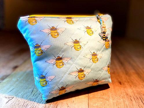 Personalised Bee Wash Bag - Sky Blue