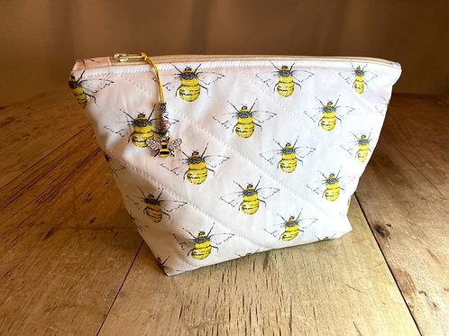 Personalised Bee Wash Bag - Ivory