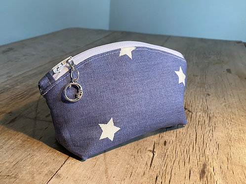 Compact White Star Zipped Pouch