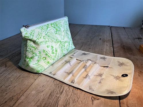 Beautiful Sea Green Batik Make-up Bag with Brush Holder