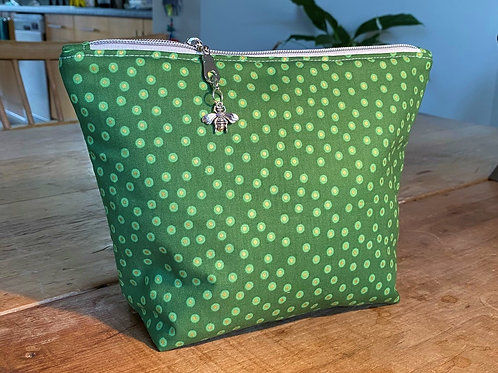 Lovely Green Dotty Wash Bag with Silver Bee Charm