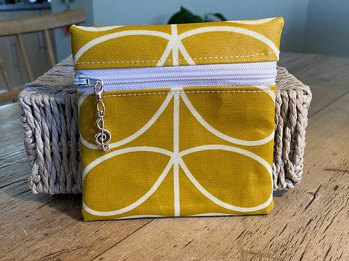 Zipped Pouch - Mustard (Orla Keily design fabric)