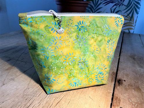 Beautiful Batik Lime Flower Make-up/Wash Bag
