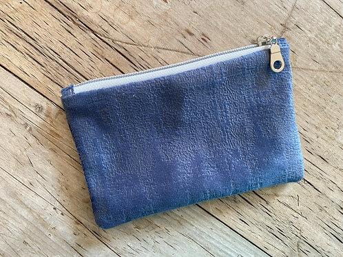Dusty Blue Velevety Zipped Pouch