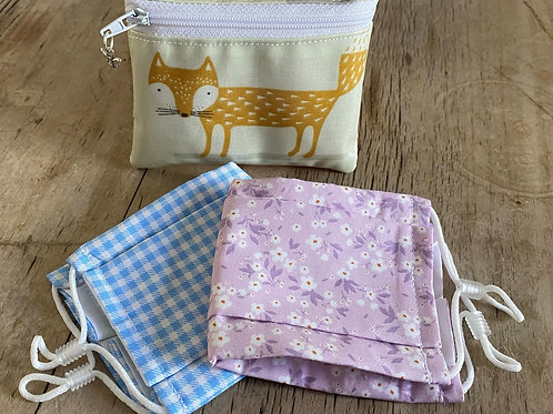 Foxy BeeSafe purse + 2 face masks (purple & blue)