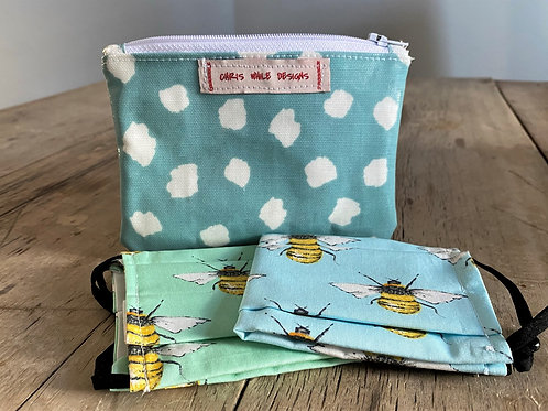 BeeSafe purse + 2 face masks (Bees)