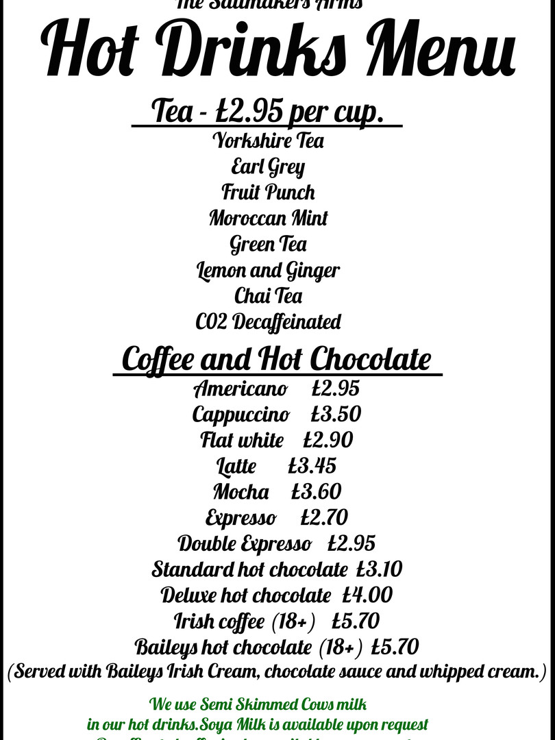 Hot Drinks Menu