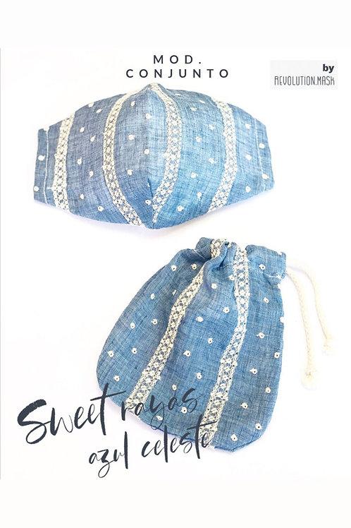 Sheet Rayas Azul Celeste