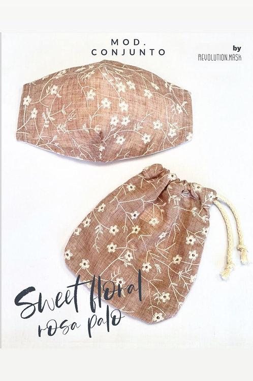 Conjunto Sheet Foral Rosa Palo