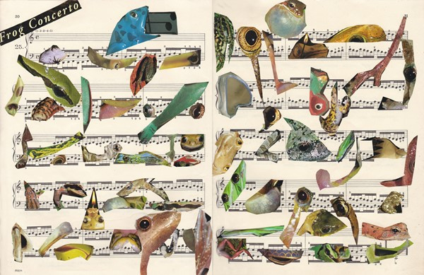 An image titled Frog Concerto contain a pages of sheet music covered in cut-outs of frogs.