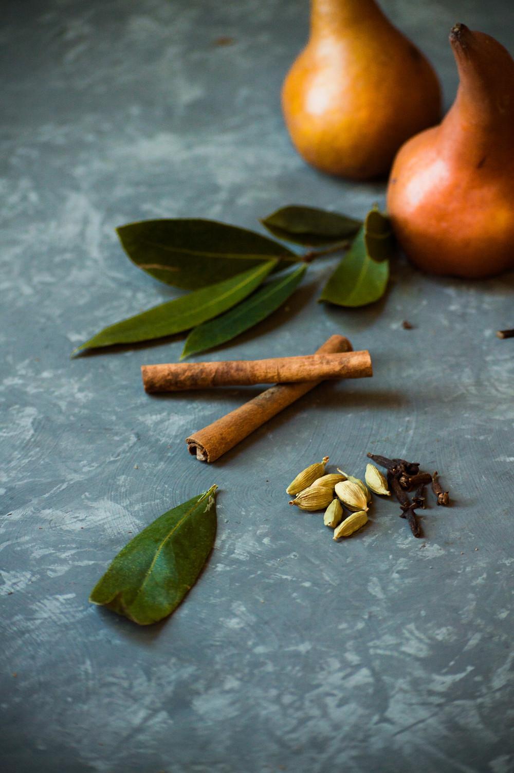 Pears, bay leaf, cinnamon, cardamon, food photography, Organic Kitchen Gardens
