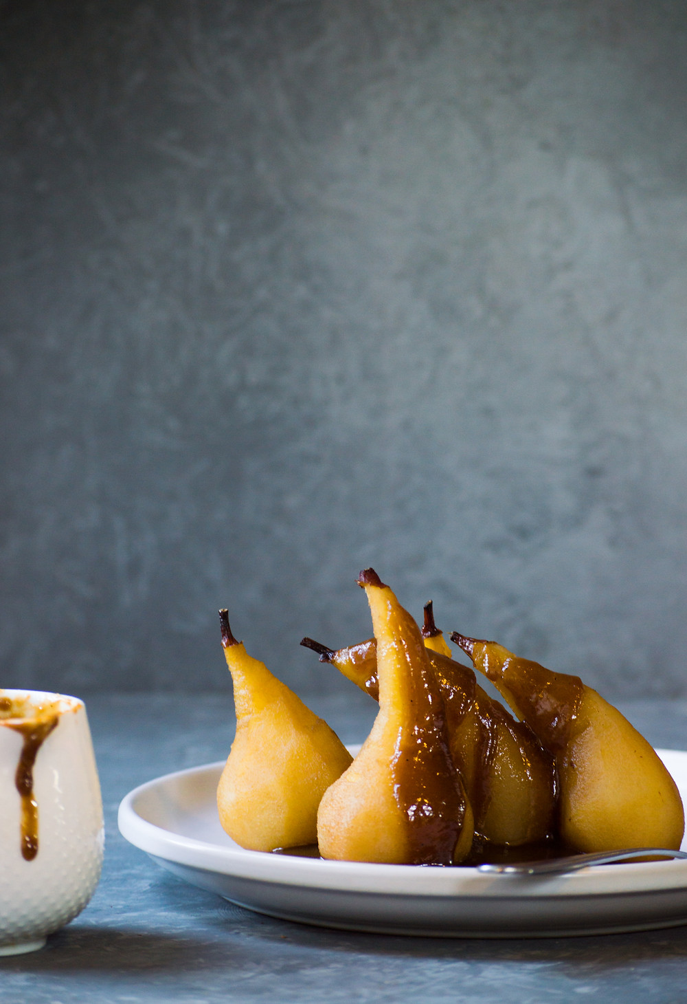 Poached pears, Spiced, caramel espresso sauce, bay leaf, Organic Kitchen Gardens