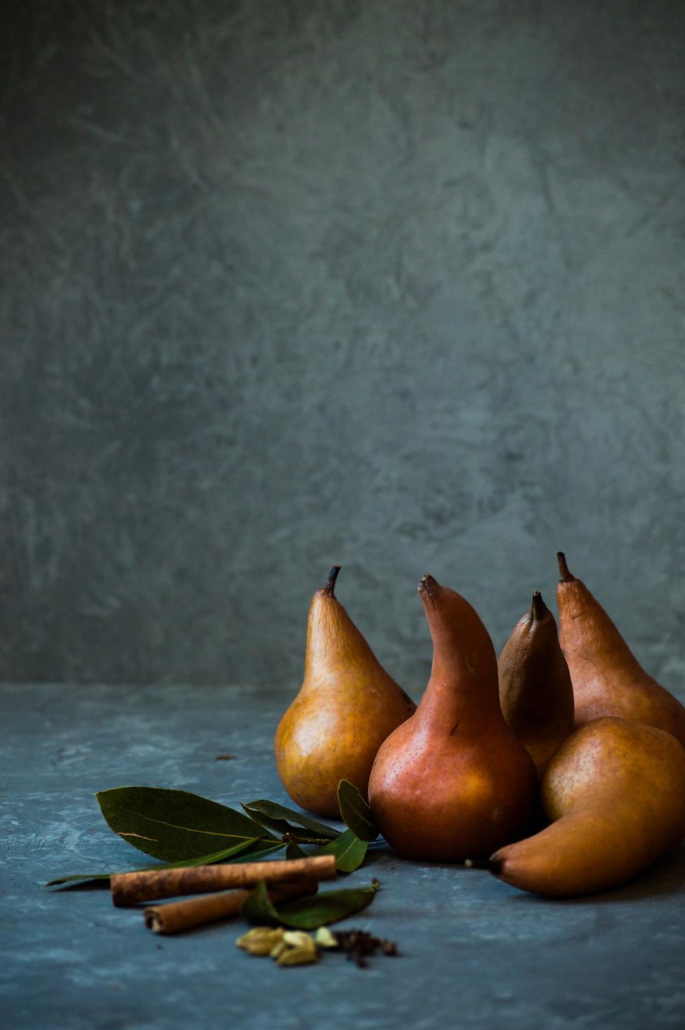 Pears, bay leaf, cinnamon, cardamon, Organic Kitchen Gardens